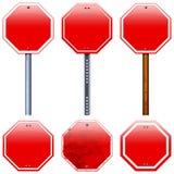Leere rote Straßenstoppschilder Lizenzfreies Stockbild