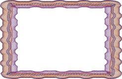 Leere Schablone des Feldes für ein Zertifikat Stockbild