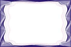 Leere Schablone des Feldes für ein Zertifikat Stockfotografie