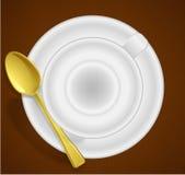 Leere Schale für Kaffee oder Tee, Draufsicht lizenzfreie stockbilder
