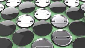 Leere schwarze Ausweise auf grünem Hintergrund Stockfotos
