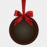 Leere schwarze Gutscheinschablone mit rotem Bogen Stockfotografie