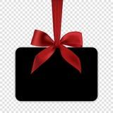 Leere schwarze Gutscheinschablone mit rotem Bogen Stockfotos