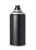 Leere schwarze Spraydose, lokalisiert Stockfotografie