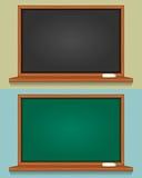 Leere schwarze und grüne Tafel Lizenzfreie Stockfotos