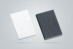 Leere Schwarzweiss-gebundene Bücher verspotten herauf Satz, lizenzfreies stockfoto