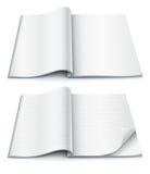 Leere Seiten innerhalb der Zeitschrift mit eingewickelter Ecke Stockfoto