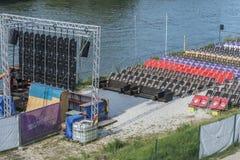 Leere Sitze am allgemeinen Sendegebiet in Regensburg während Fußball EM in Frankreich Lizenzfreies Stockbild