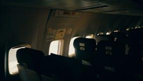 Leere Sitze des Flugzeuges stock footage