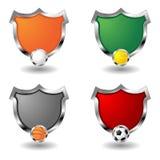 Leere Sportabzeichen über Weiß Stockfotografie