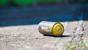 Leere Spraydose aufgrund von Aerosol-Arena in Magdeburg Stockfotos