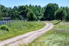 leere Straße in der Landschaft im Sommer Lizenzfreie Stockfotografie