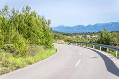 Leere Straße Hvar-Insel, Kroatien stockbilder