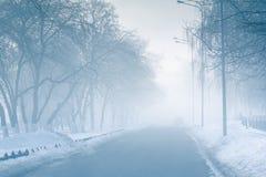 Leere Straße im Nebel in der mysteriösen Stadt stockbild