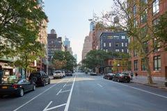 Leere Straße Tribeca-Bezirkes morgens in New York Stockfotografie