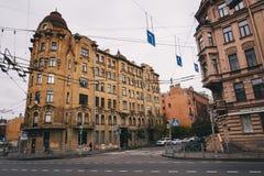 Leere Straßen der Stadt im Herbst Lizenzfreies Stockbild