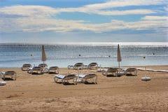 Leere Strandstühle Ibiza Lizenzfreies Stockfoto