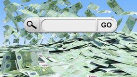 Leere Suchstange mit gehen Knopf, Geld als Hintergrund Lizenzfreie Stockfotos