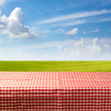 Leere Tabelle bedeckt mit überprüfter Tischdecke über grüner Wiese und blauem Himmel Lizenzfreies Stockfoto