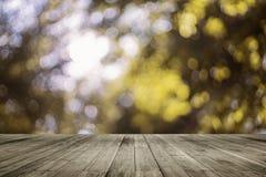 Leere Tabelle des hölzernen Brettes vor natürlichem unscharfem Hintergrund Braunes Holz der Perspektive über bokeh des Baums Stockfotografie