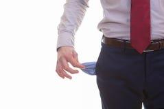 Leere Taschen für Rezession, bankrott oder Krise Lizenzfreie Stockfotografie