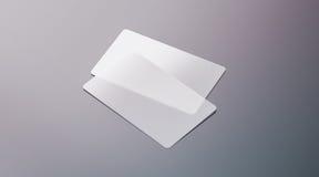 Leere transparente PlastikVisitenkarten verspotten oben Stockbild