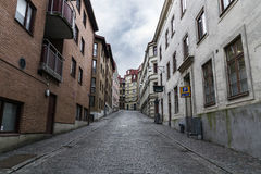 Leere und traurige Straße in Gothenburg Stockbild