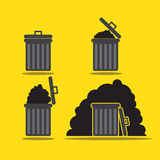 Leere und voll- Mobile- u. Netzikone der grauen Mülltonneikone Stockbilder
