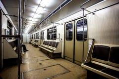 Leere Wagen Moskau-U-Bahn Stockbild