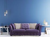 Leere Wand für Spott oben auf einer blauen Wand im modernen Hippie-Innenraum mit violettem Sofa und weißer Tabelle vektor abbildung