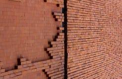 Leere Wandbeschaffenheit des roten Backsteins Hintergrund von patte Wand des roten Backsteins Lizenzfreies Stockbild