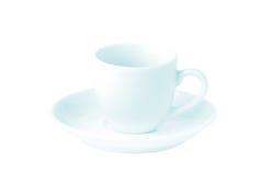 Leere weiße Kaffeetasse Stockbild