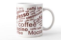 Leere weiße Kaffeetasse Stockfotografie