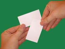 Leere weiße Karten Stockfoto