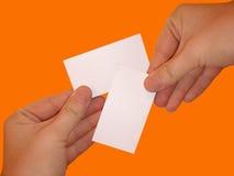 Leere weiße Karten Stockfotografie