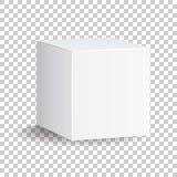 Leere weiße Kastenikone des Kartons 3d Kastenpaketmodell-Vektor illust Stockbilder