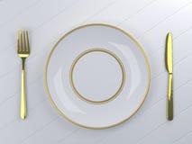 Leere weiße Platte mit Messer und Gabel stock abbildung
