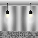 Leere weiße Wand mit Lampen Stockbild