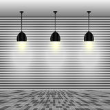 Leere weiße Wand mit Lampen Stockfotografie