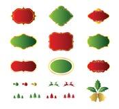 Leere Weihnachtsaufkleber und Elementdesign Stockfotos