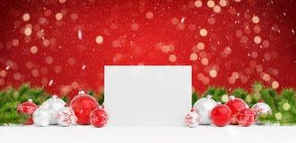 Leere Weihnachtskarte, die auf roten Flitter und Wiedergabe des Geschenks 3D legt lizenzfreie abbildung