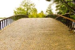 Leere Weinlesebogenbrücke in Herastrau-Park von Bukarest am schönen Tag des Frühlinges stockbilder