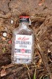 Leere Wodkaflasche Stockfotografie