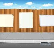 Leere Zeichen auf städtischem hölzernem Zaun Stockbilder