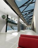Leeren Sie breiten Raum mit geometrischen Wänden, Innensho Lizenzfreie Stockfotos