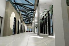 Leeren Sie breiten Raum mit geometrischen Wänden, Innensho Stockfoto