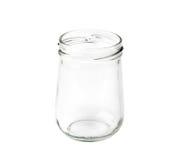 Leeren Sie das Stauglas, das auf einem Weiß lokalisiert wird Stockfoto