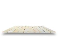 Leeren Sie die Draufsicht des Holztischs lokalisiert auf weißem Hintergrund, für Stockfotos