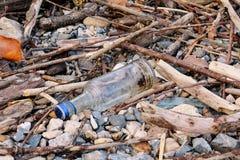 Leeren Sie die Glasflasche, die weggeworfen wird, verließ auf Gras in der Natur Ökologisch, Ökologie, Industrie aufbereitend stockbilder
