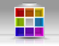 Leeren Sie farbige Regale Lizenzfreies Stockfoto